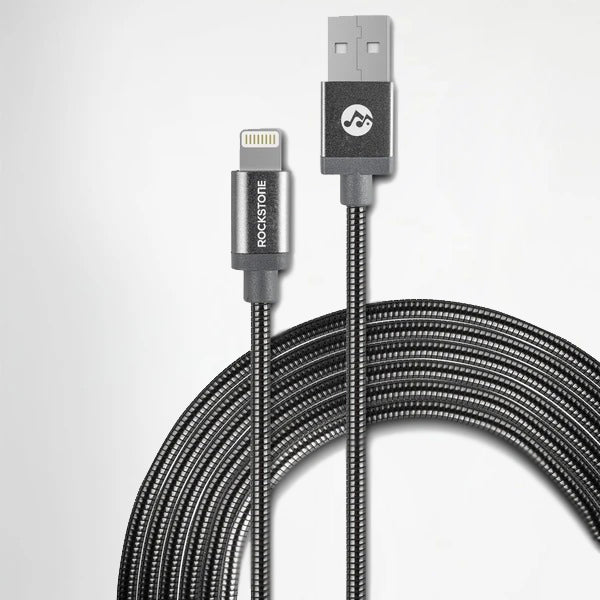 Pet Friendly Metal Tangle Free Braided Lightning Cable Silver - 1.2 Meter