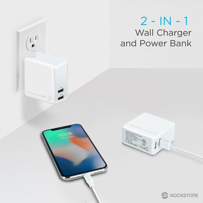 J-5K 2 Port Wall Charger with 5000 mAH Power Bank