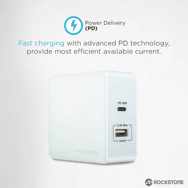 Pd45 Power Delivery Wall Charger With 2.4A Usb Port