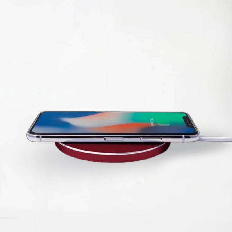 Aluminum Wireless Charging Pad with QC 3.0 Wall Charger -Red