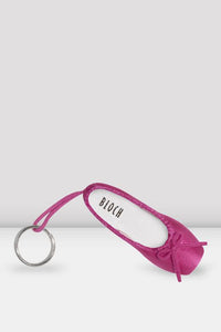 Hot Pink Satin Bloch pointe shoe key ring