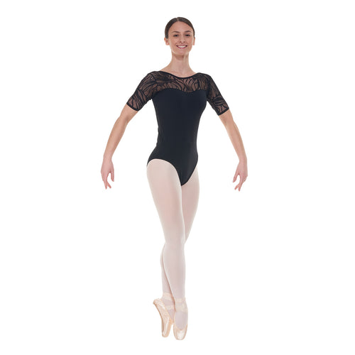 Tappers and Pointers short sleeved Leotard ELE/3 - Available in Black or Burgundy - Strictly Dancing
