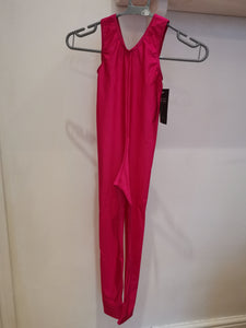 Sleeveless Catsuit Plain Front With Stirrup - Pink