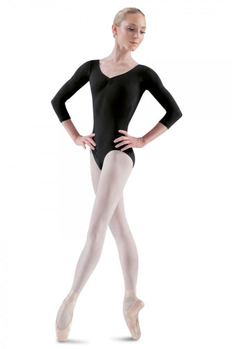 Bloch L5436 3/4 Sleeve leotard - Black - Strictly Dancing