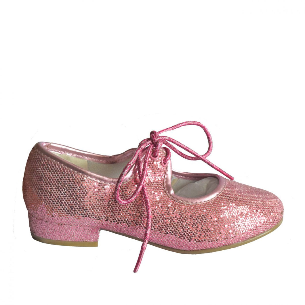 Tappers and Pointers Low Heel Tap Shoes - Pink Glitter Upper - Strictly Dancing