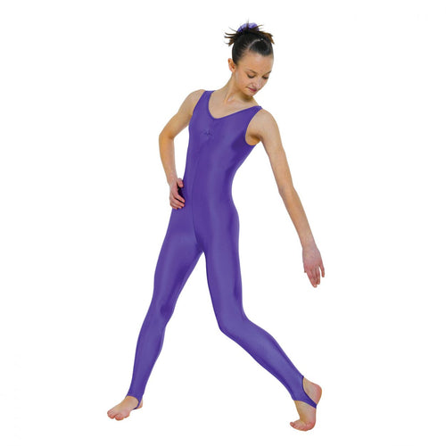 Tappers & Pointers CAT 3 Sleeveless Catsuit Ruched Front With Stirrup - Purple