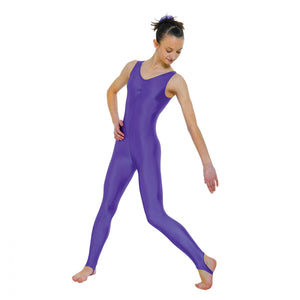 Tappers & Pointers CAT 3 Sleeveless Catsuit Ruched Front With Stirrup - Purple - Strictly Dancing