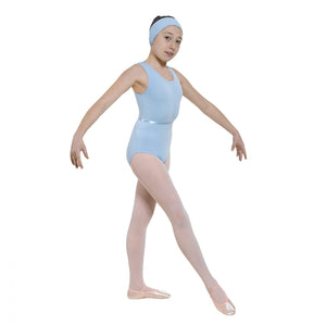 Regulation sleeveless leotard in cotton lycra with a plain front - ISTD Sky/ISTD Purple - Strictly Dancing