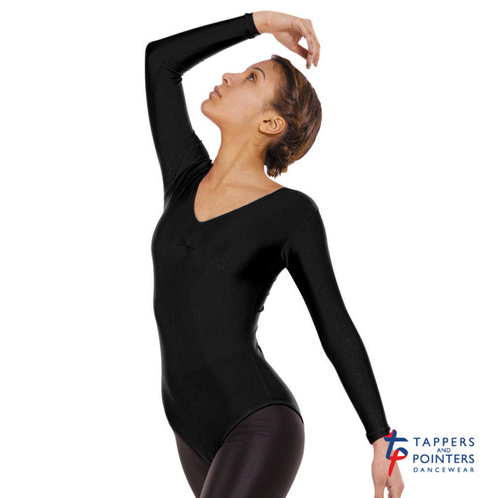 Tappers & Pointers Leo 4 long sleeve leotard - Black - Strictly Dancing