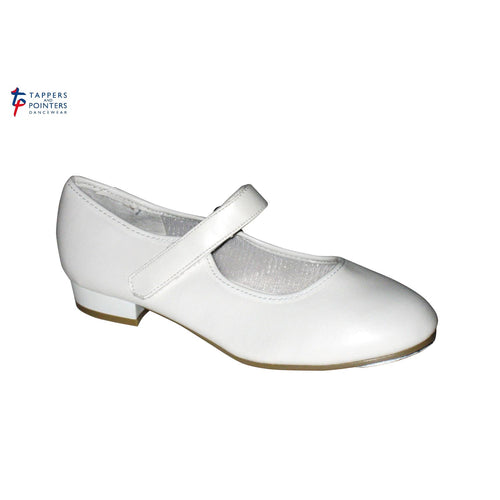 Tappers and Pointers Low Heel Tap Shoes - PU Upper, velcro fastening - White - Strictly Dancing