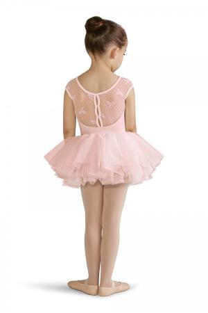 Bloch CL8212 Bow Mesh Capped Sleeved Tutu Leotard - Strictly Dancing