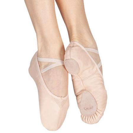 pink capezio split sole ballet pump with dual elasticated strap