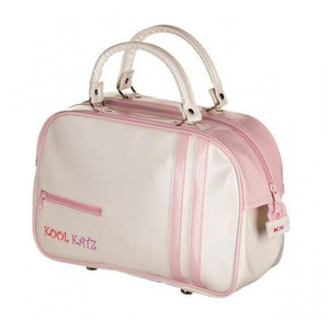 cream and pink pvc dance travel bag with two handles Katz