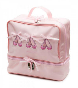 Light pink ballet bag with zipped compartments and ballet shoes detail