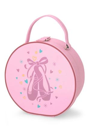 Pink circular vanity dance case with pointe shoe design