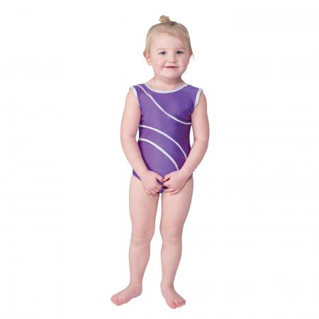 Tappers and Pointers Detail 1 Sleeveless Leotard with Silver Hologram Detailing - Purple