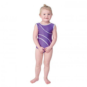 Tappers and Pointers Detail 1 Sleeveless Leotard with Silver Hologram Detailing - Purple - Strictly Dancing