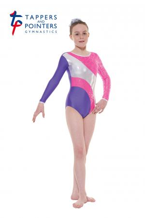 Tappers and Pointers Gym 38 Long Sleeve Carnival Gymnastics Leotard - Purple/Pink - Strictly Dancing