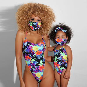 Mother Daughter Matching One Piece + MASK SET