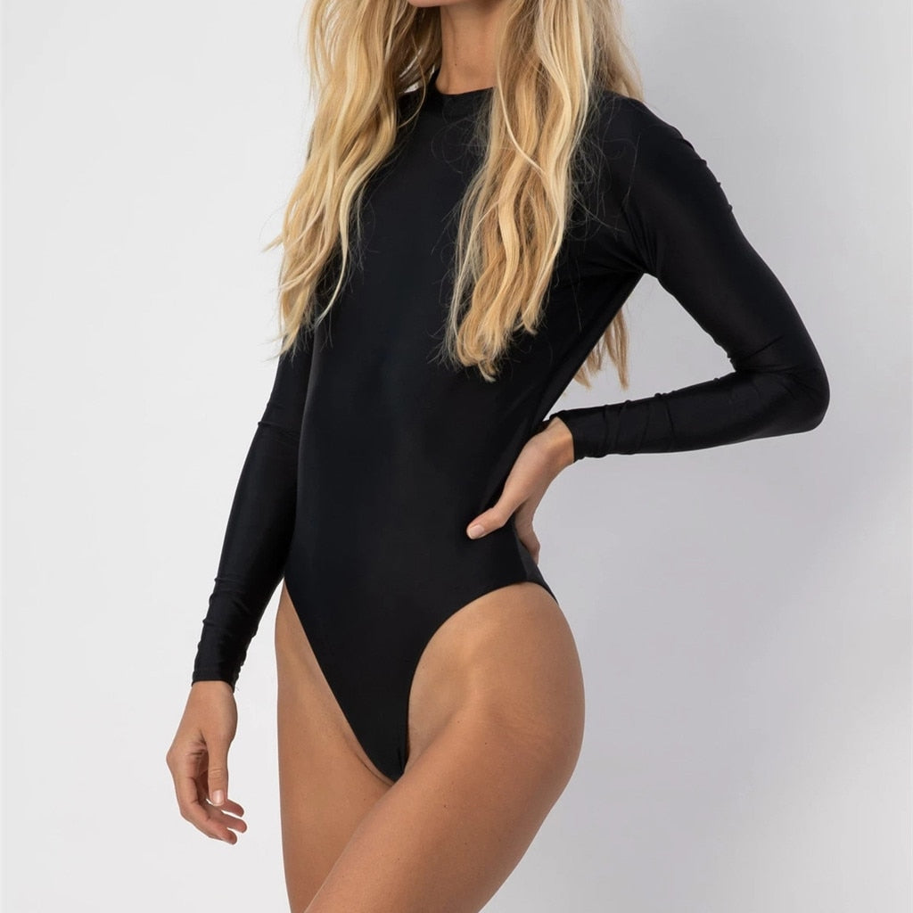 Solid Backless Long Sleeve One Piece