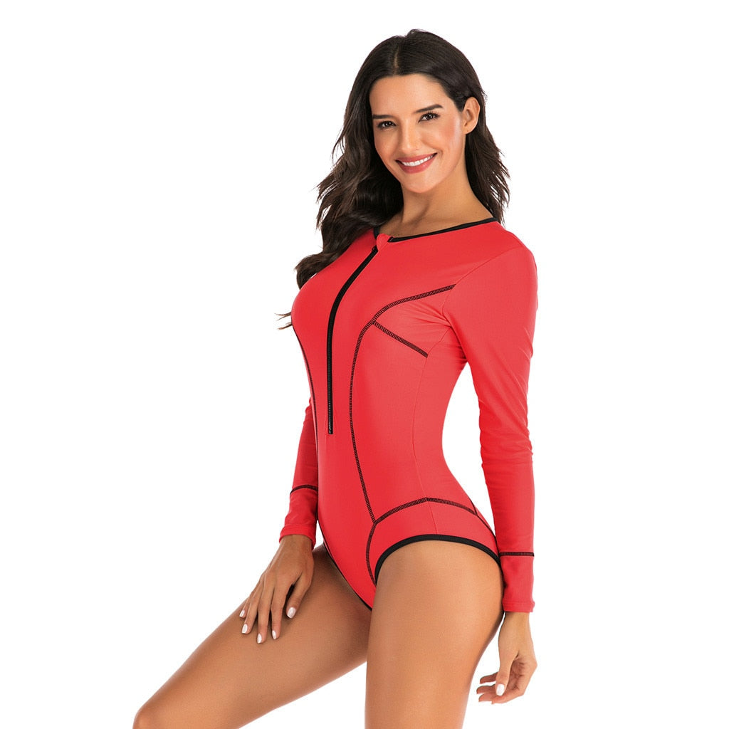Solid Sporty Long Sleeve One Piece
