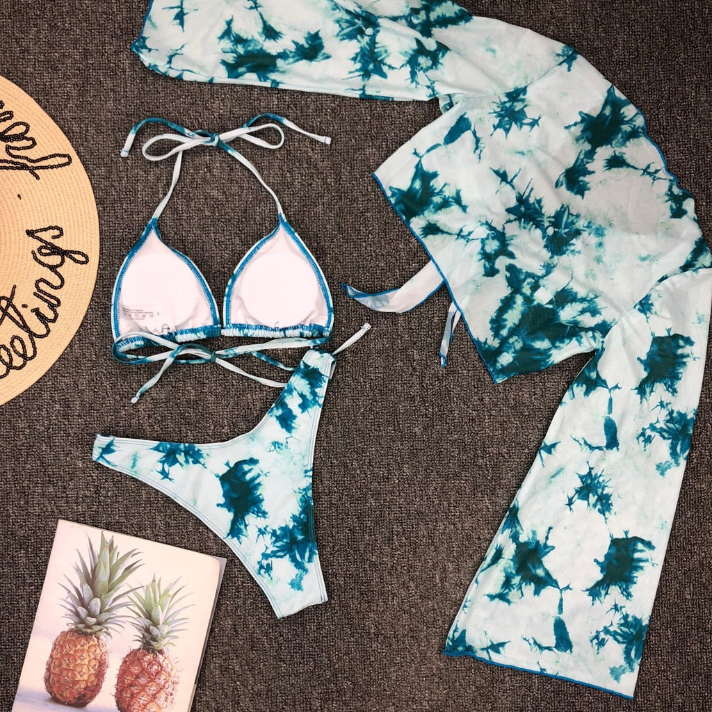 Tie-dye Lace Up Bikini + Cover-up