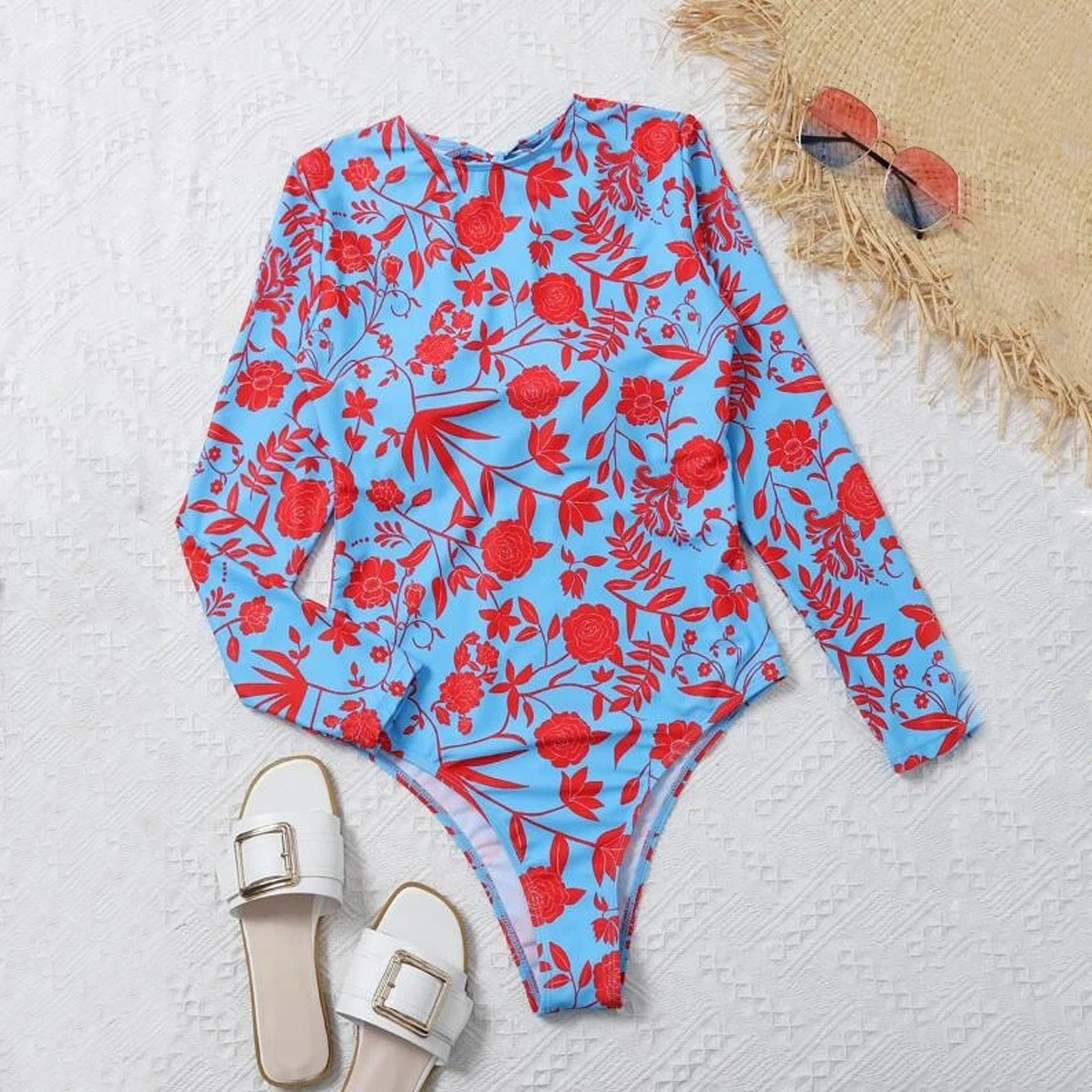 Floral Long Sleeve One Piece
