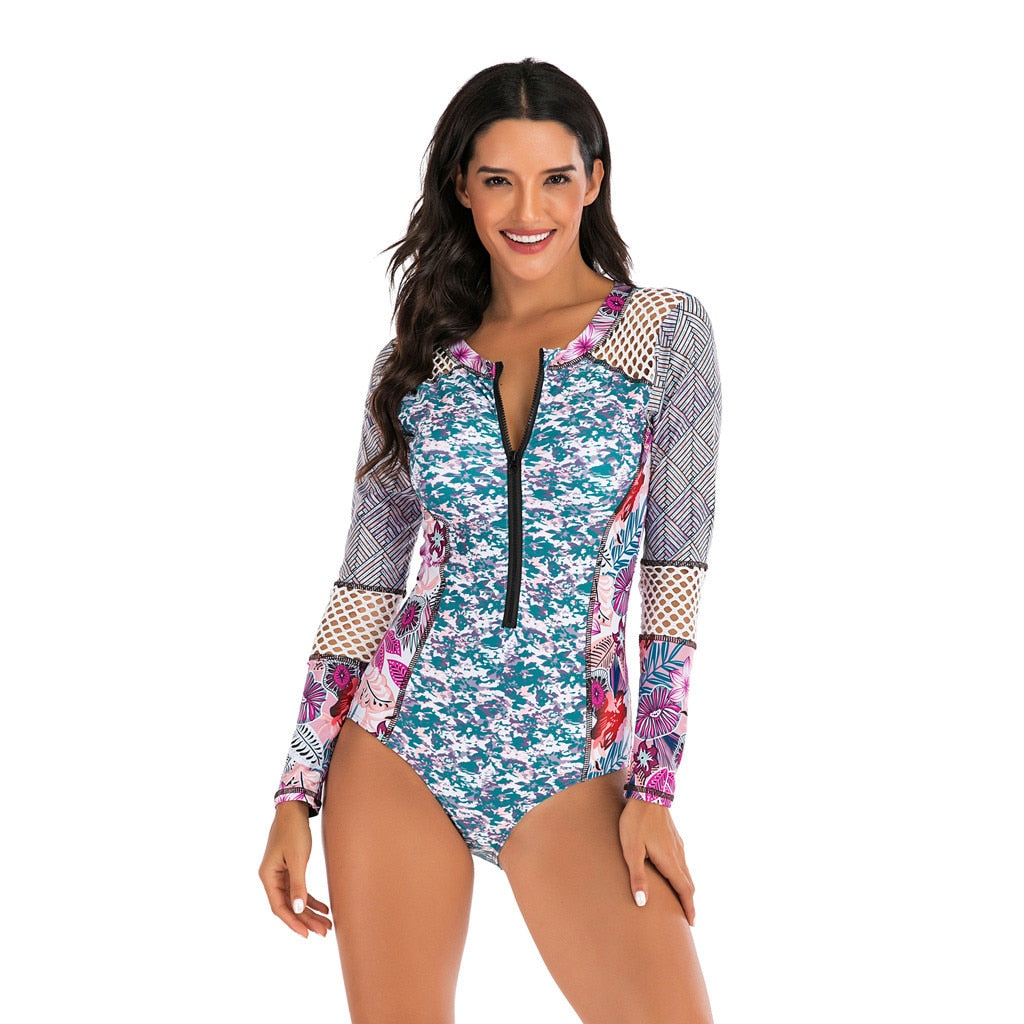 Pastel Floral  Long Sleeve One Piece