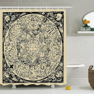 Esoteric Planetary Celestial Shower Curtain Old Style Mystic Astronomy Room Decor