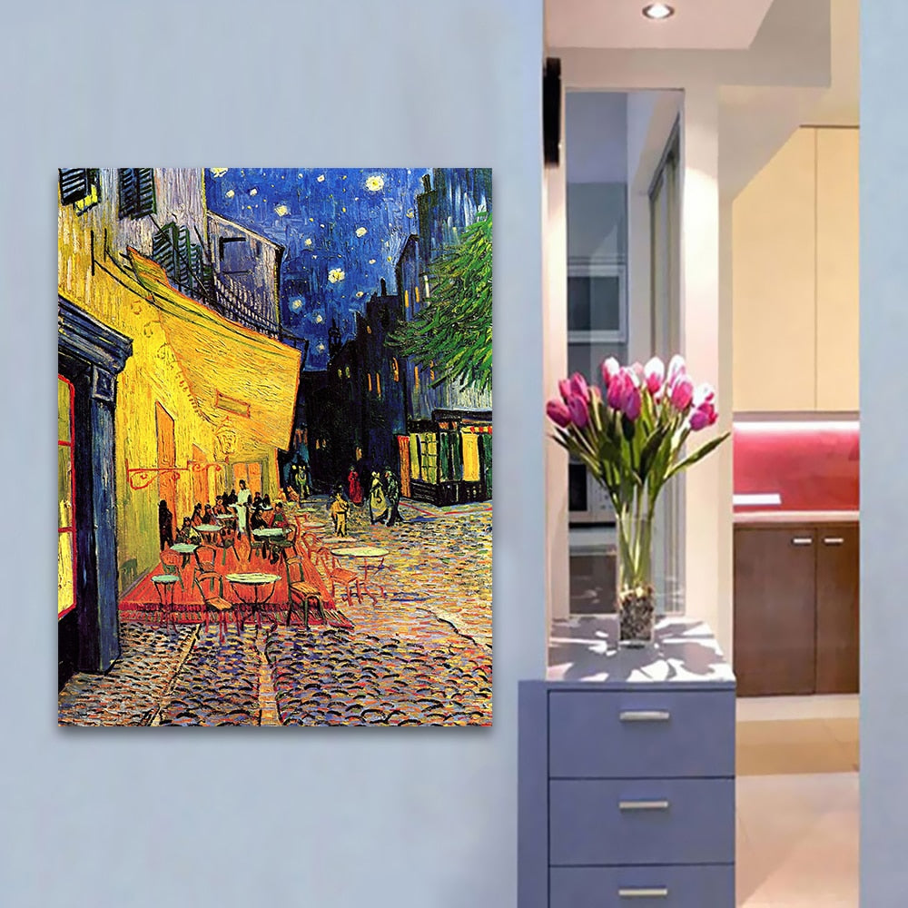 6163bf35ced HDARTISAN Canvas Art Wall Pictures For Living Room Vincent Van Gogh Cafe  Terrace At ight Modern