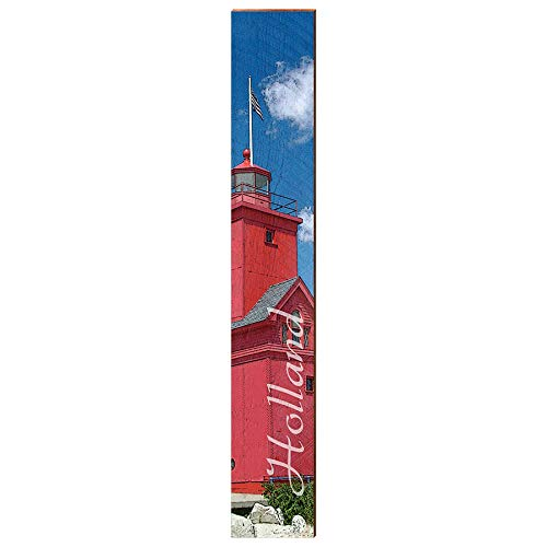 "Holland Michigan Lighthouse Home Decor Art Print on Real Wood (9.5""x60"") Each-Mill Wood Art"