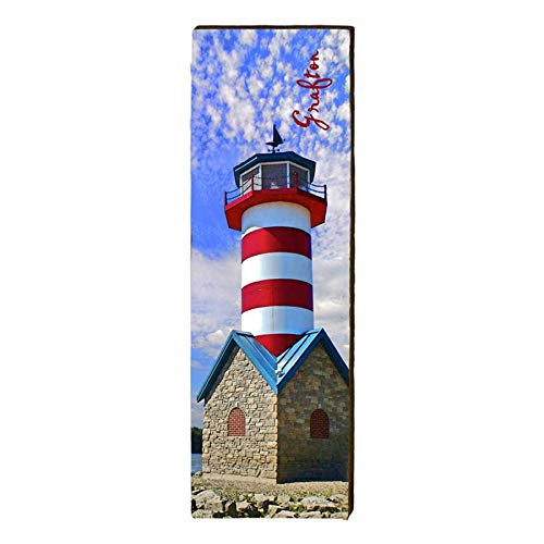 "Grafton Lighthouse Home Decor Art Print on Real Wood (9.5""x30"")-Mill Wood Art"