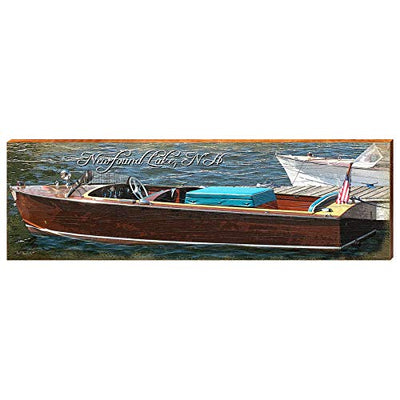 "Vintage Boat on Newfound Lake Home Decor Art Print on Real Wood (9.5""x30"")-Mill Wood Art"