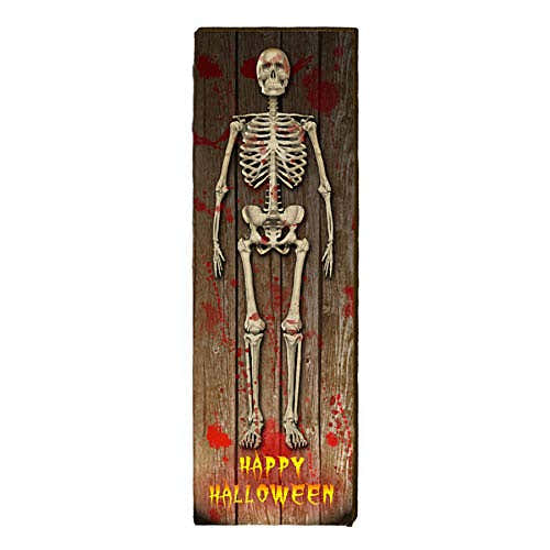 """Happy Halloween with Skeleton Home Decor Art Print on Real Wood (9.5""""x30"""") 1"""