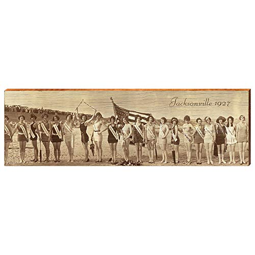 "Bathing Beauties Jacksonville Florida 1928 Home Decor Art Print on Real Wood (9.5""x30"")-Mill Wood Art"