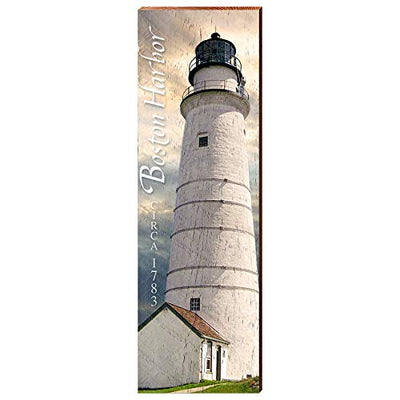 "Boston Harbor Lighthouse Home Decor Art Print on Real Wood (9.5""x30"")-Mill Wood Art"