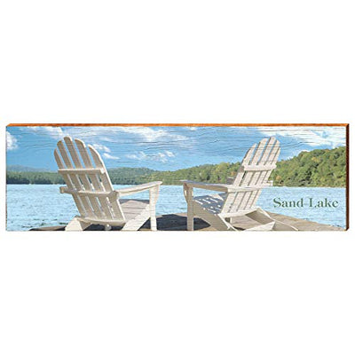 "Adirondack Lake Chairs on Sand Lake Canada Home Decor Art Print on Real Wood (9.5""x30"")-Mill Wood Art"