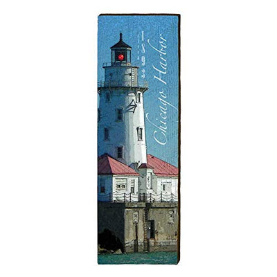 "Chicago Harbor Lighthouse Home Decor Art Print on Real Wood (9.5""x30"")-Mill Wood Art"