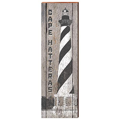 "Cape Hatteras Lighthouse Black and White Home Decor Art Print on Real Wood (9.5""x30"")-Mill Wood Art"