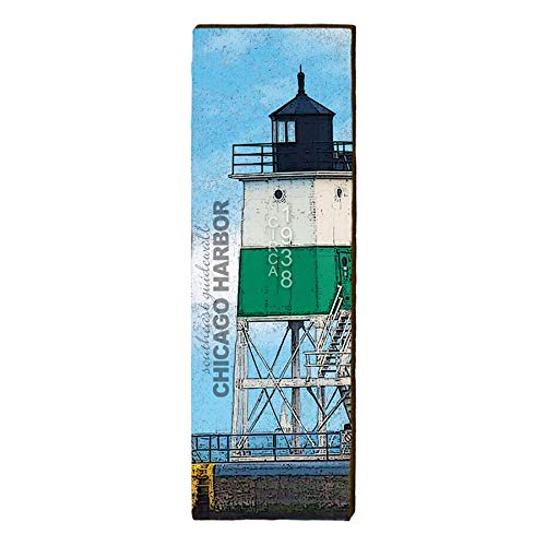 "Chicago Harbor Southeast Guidewall Lighthouse Home Decor Art Print on Real Wood (9.5""x30"")-Mill Wood Art"