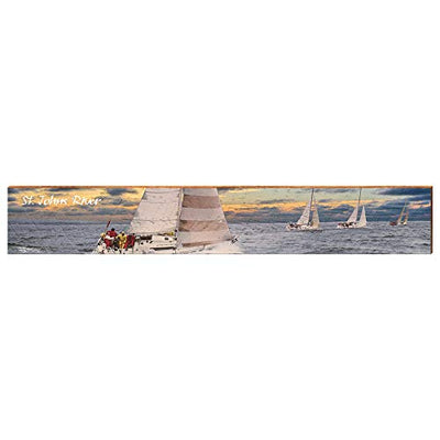 "Racing Sailboats on St. Johns River Sunset Home Decor Art Print on Real Wood (9.5""x60"") Each-Mill Wood Art"