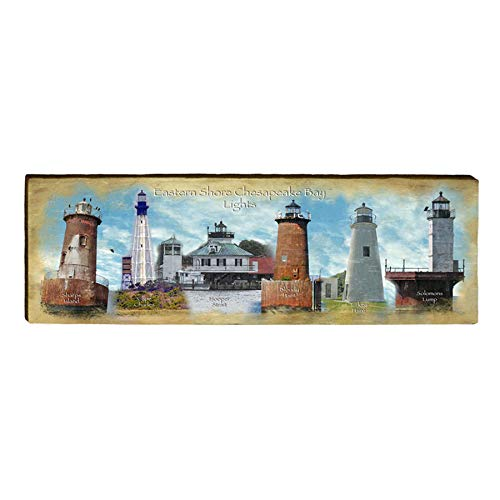 "Chesapeake Bay Lighthouses Home Decor Art Print on Real Wood (9.5""x30"")-Mill Wood Art"