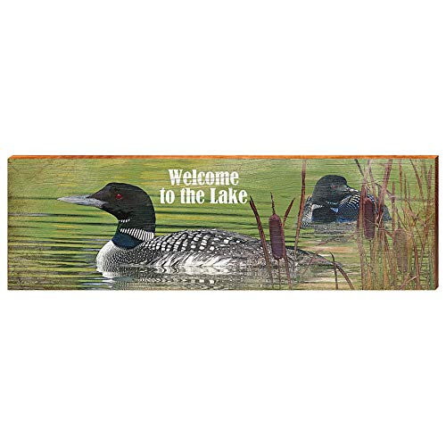 "Welcome to The Lake with Loons Home Decor Art Print on Real Wood (9.5""x30"")-Mill Wood Art"