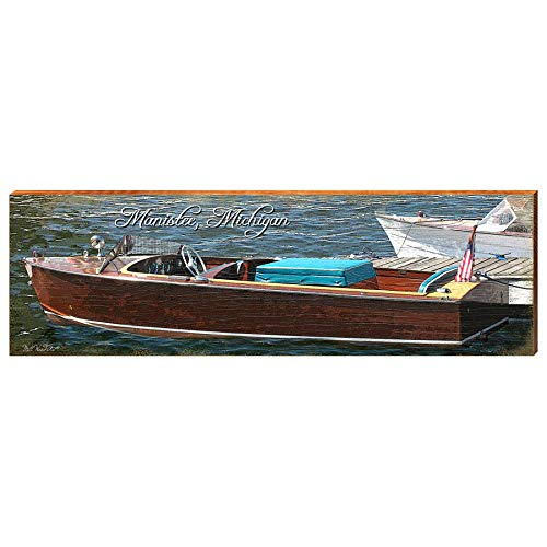 "Vintage Boat in Manistee Michigan Home Decor Art Print on Real Wood (9.5""x30"")-Mill Wood Art"