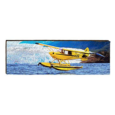 "Seaplane Alaska Home Decor Art Print on Real Wood (9.5""x30"")-Mill Wood Art"