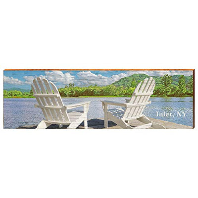"Inlet New York Lake Adirondack Chairs Home Decor Art Print on Real Wood (9.5""x30"")-Mill Wood Art"