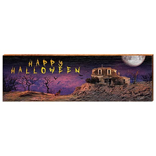 "Haunted House with Wolf Home Decor Art Print on Real Wood (9.5""x30"")-Mill Wood Art"