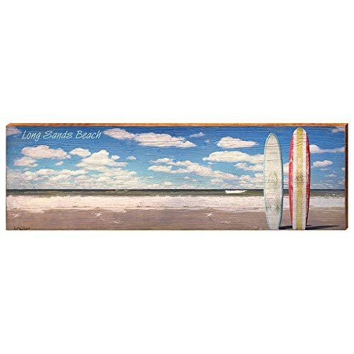 "Surfboards on Long Sands Beach Maine Home Decor Art Print on Real Wood (9.5""x30"")-Mill Wood Art"