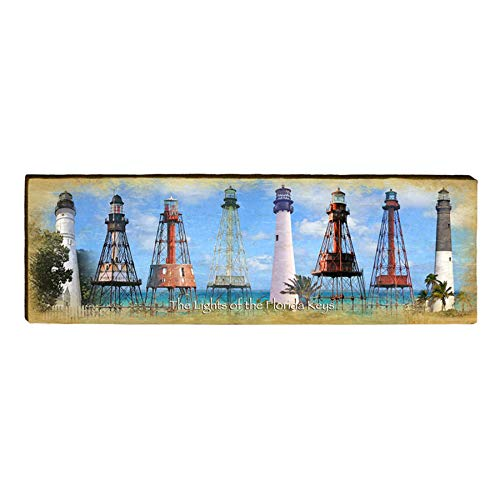 "Florida Keys Lighthouse Collection Home Decor Art Print on Real Wood (9.5""x30"") 1"