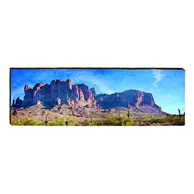 "Superstition Mountains, Arizona Landscape Home Decor Art Print on Real Wood (9.5""x30"")-Mill Wood Art"